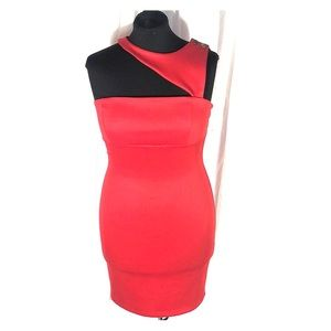 Red Forplay One-Sleeve Bodycon Dress Large NWT